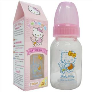 Hello Kitty Baby Glass Feeding Bottle 4oz. / 120ml BPA FREE Sanrio