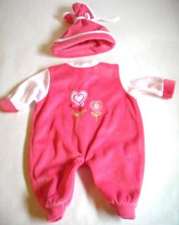 Baby Doll Clothes Medium Large Pink Sleeper & Hat Outfit 16 18