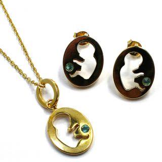 Gold 18K GF Set Earrings Pendant Pregnant Baby Shower Birth Gift Mom