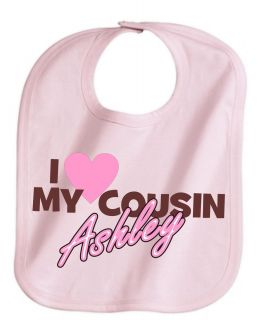 Love My Cousin Personalized Name Cute Baby Girl Pink Bib Adjustable