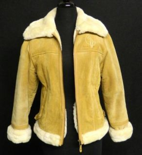 Baby Phat Size M Genuine Suede Leather Logo Jacket Coat Faux Fur