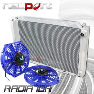tri core aluminum racing radiator+ 2 x 10 blue fans 79 93 ford mustang
