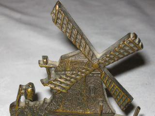 Antique Bronze Windmill Sculpture Bookends Art Nouveau Statue House