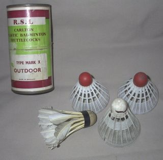 Vintage RSL Carlton Badminton Shuttlecocks Birdies 3 plastic 1 Feather