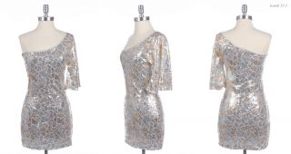 Sexy One Shoulder Cocktail Dress with Glitter Sequins White Gold