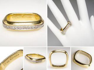 Square Diamond Wedding Band Ring 18K Gold Platinum Fine Estate