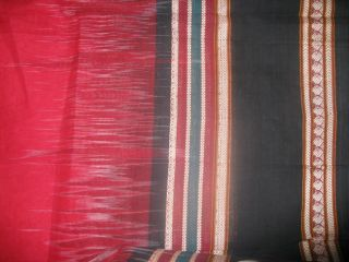 ELEGANT WHITE RED BLACK EXCLUSIVE BANGLA TANGAIL COTTON SAREE