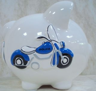 Piggy Bank Police Raised Boy Blue Cop Badge CR100SP