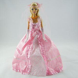 New Handmade Barbie Dolls Clothing Evening Dress White Wedding Dress