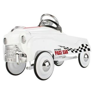 New White Big Race Pace Pedal Car All Metal Powder Coated w Chrome Hub