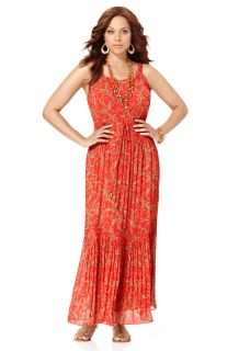 Avenue Plus Size Pleated Damascus Print Maxi Dress