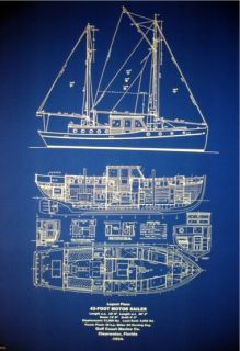 Florida Sailboat Yacht Motorsail 1934 Blueprint Plans
