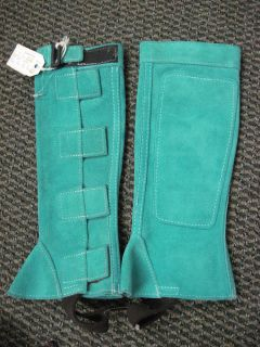 Barnstable Suede Leather Childs Velcro Half Chaps Teal Kids Medium