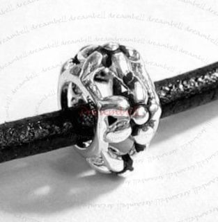 Str Silver Round Flower Bead F European Charm Bracelet