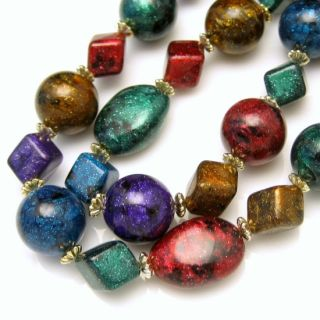 Vintage Chunky Beads Long Necklace Large Multi Colored Jewel Tone