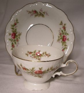 Johann Haviland China Moss Rose pttrn Cup Saucer Set Design Inside Cup