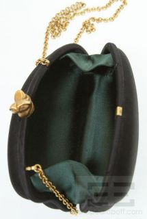 Barry Kieselstein Cord Black Satin Gold Trim Clutch Bag