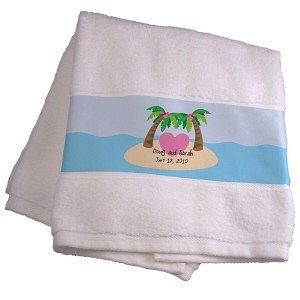 Personalized Wedding Honeymoon Couples Beach Bath Towel