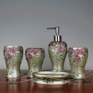 Gorgeous 5 Pcs Bathroom Accessories Decoration Set Rose Special Gift