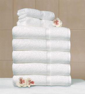 6pc Personalized Monogrammed White Bath Towel Set