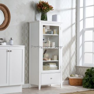 Bathroom Cabinet Storage White Finish 2 Adj Shelves Tempered Glass