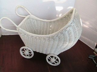 Vtg White Wicker Doll Stroller Baby Carriage