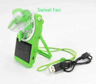 held Mini USB & Solar Rechargeable Battery Operated Cooling Fan GN
