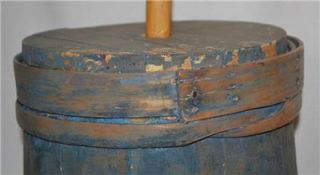 Antique Country Primitive Wooden Butter Churn 19th Century Shaker Blue