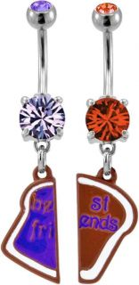 Peanut Butter & Jelly Best Friends BFF 2 Piece Navel Bar Belly Ring