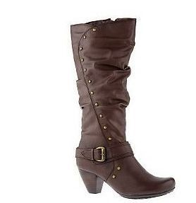 Bare Traps High Shaft Side Zip Boots with Stud Buckle Detail Brown 7M