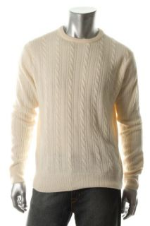 Geoffrey Beene New Beige Cable Knit Ribbed Trim Long Sleeve Crewneck