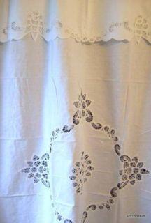 Elegant White Battenburg Lace 100 Cotton Shower Curtain With Valence