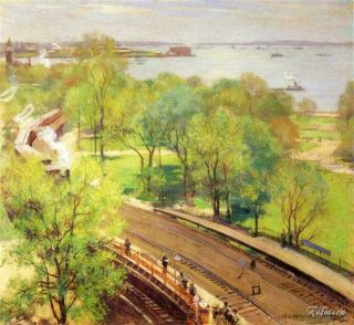 Willard Leroy Metcalf Battery Park Spring Handmade Oil Painting Repro