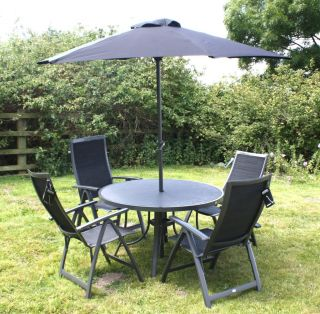 High Quality New Bellagio Garden Patio Furniture 4 Chair Table Parasol