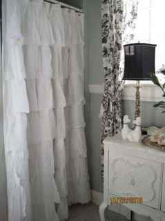 COTTAGE BEACH FRENCH CHIC COUNTRY WHITE TIER RUFFLED SHOWER CURTAIN