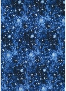 Winter Wonderland Stars Snow Blue Cotton Quilt Fabric