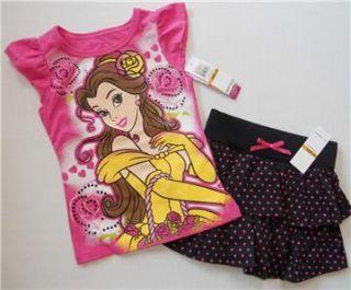Belle Girls 2T 3T 4T 4 5 6 6X Set Outfit Shirt Skort Skirt Disney