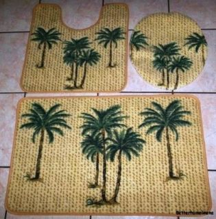 3pc Tropical Palm Tree Bathroom Rug Set Bath Mat U Shaped Mat Lid