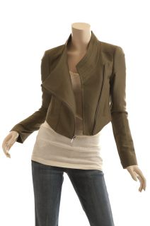 BCBG MAX AZRIA OLIVE GREEN CROPPED COTTON MOTORCYCLE JACKET SIZE M