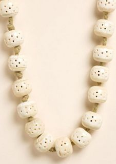 Lucky Brand Jeans Necklace Handcrafted Boho Hippie Bone Bead Natural