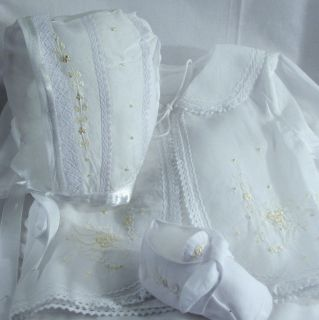 Boutique Hand Embroidered Batiste Girls Outfit NB 3M Cottonwhite