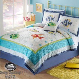 Boy Girl Children Kid Beach Sea Fish Quilt Bedding Set for Twin Full