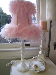 PINK FEATHERS LAMP SHADE COTTAGE LARGE WHITE BASE TABLE LAMP
