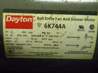 dayton 6k744a split phase belt drive fan blower motor