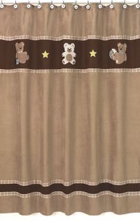 JoJo Teddy Bear Brown Kids Boys Fabric Shower Curtain