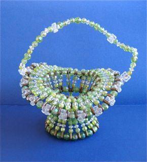 Safety Pin Beaded Basket Small Green Vintage Folk Art