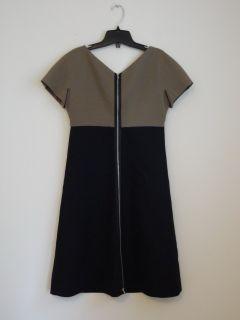 New Victoria Beckham Taupe Black Wool Cap Sleeve 2 Way Zipper Shift