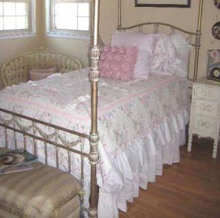 Shabby Sweet White Cottage Chic Twin Bed Eyelet Bedskirt Scalloped