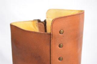 Bed Stu Womens Flat Studded Zip Up Tall Bullet Knee High Boot Tan 6 36