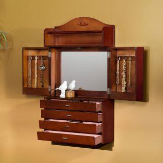 Jewelry Armoire Cherry Finish Mirror Multi Storage Bedroom Bath NEW
